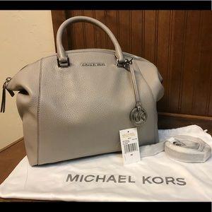 Michael KORS pearl gray Satchel handbag